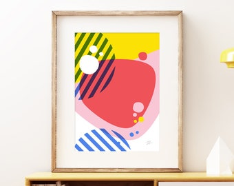 Waters Edge abstract wall artwork - Bold colorful modern art, statement print, simple playful geometric fun art print for the home or office