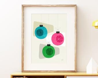 Retro Holiday Baubles wall art print - Mid-century modern art, classic vintage Christmas print, abstract lounge bar artwork