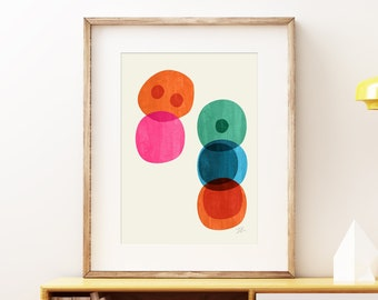 Cellular I Mid-century modern art, vintage painted style print, abstract watercolor circles artwork - wall art print