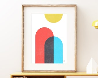 Rise bold abstract wall art - Colorful red blue and yellow modern art, statement print, simple abstract art print for the home or office