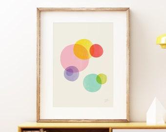 Rainbow Bubbles colorful wall art print - Mid-century modern art, vintage style print, abstract artwork