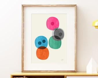 Cellular III Mid-century modern art, vintage painted style print, abstract watercolor circles artwork - living room wall art print