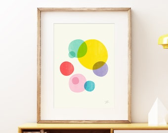 Rainbow Bubbles III - Colorful Mid-century modern wall art, vintage style print, organic playful abstract artwork by Trevor May