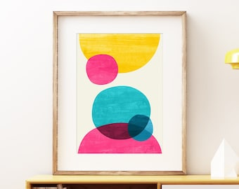 Scattered Worlds wall art print - Brightly colored Mid-century modern art, vintage style print, abstract artwork