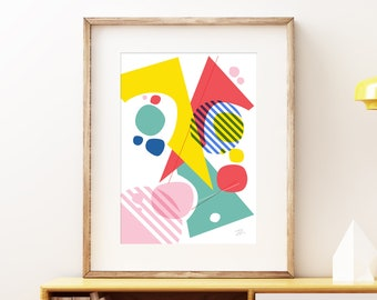Abstract Pop IV wall artwork - Bold colorful modern art, statement print, fun abstract geometric circus shapes art print for your home