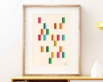 Promenade wall art print - Mid-century modern art, vintage style print, simple abstract artwork for the home or office