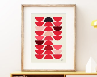 Red Bowls - abstract wall art print. Colorful geometric modern art, vintage style print, geometric pattern artwork for the office or home