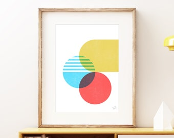 Pinch bold abstract wall art - Colorful yellow blue and red modern art, statement print, simple abstract art print for the home or office