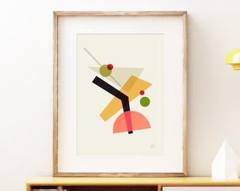 Cocktail IV Martini wall art print - Mid-century modern art, classic vintage tiki style print, abstract lounge bar artwork