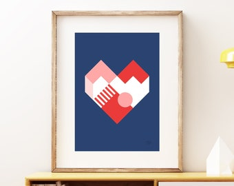 Heart II geometric abstract wall art - Bold yellow blue and red romantic modern art, statement print, simple blue art print for the home