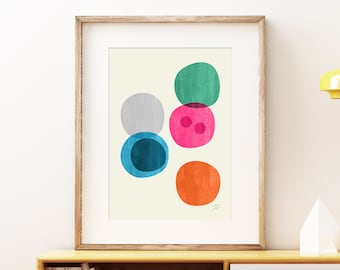 Cellular IV Mid-century modern art, vintage painted style print, abstract watercolor circles artwork - living room wall art print