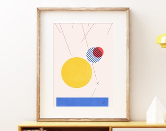 Commander I abstract video game wall art - Colorful yellow blue and red modern art, statement print, simple art print for the home or office