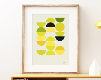 Abstract I - abstract yellow green wall art print. Colorful geometric modern art, vintage mid-century style print, geometric pattern artwork