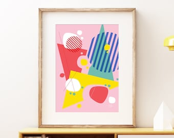 Abstract Pop I wall artwork - Bold colorful modern art, statement print, simple abstract geometric fun art print for the home or office
