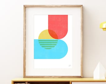 Set bold abstract wall art - Colorful red blue and yellow modern art, statement print, simple abstract art print for the home or office