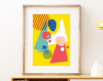 Abstract Pop III wall artwork - Bold colorful modern art, statement print, bright and sunny abstract geometric art print for your home