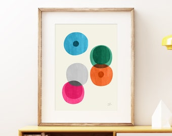 Cellular II Mid-century modern art, vintage painted style print, abstract watercolor circles artwork - living room wall art print
