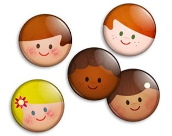 Retro Faces Pin Collection - Mid-century Modern Vintage style set of 5 x 1 inch button badges