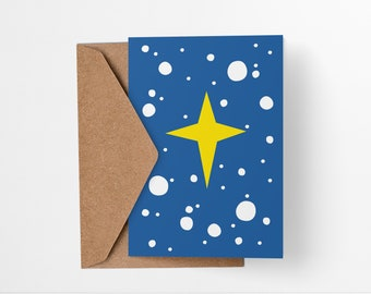 Holiday Snowy Star Christmas Card