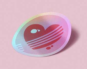 Love Heart Holographic Vinyl Sticker - Colorful geometric Mid-century modern shapes metallic adhesive vinyl sticker - affordable pop art