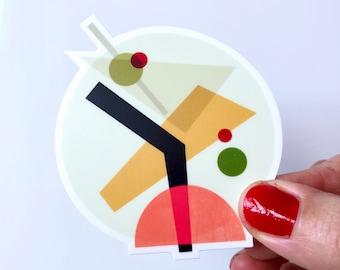 Cocktail IV Martini glass Vinyl Sticker - Colorful geometric Mid-century modern tiki shapes adhesive vinyl sticker - affordable pop art