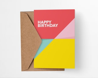 Birthday Card Abstract Pastel Perspective - Colorful modern geometric greetings card