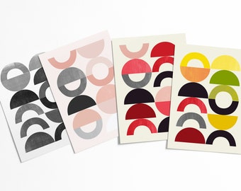 Mid-century Modern Abstract Postcard Set - Colorful geometric shapes artwork set - affordable pop art - stationery collection