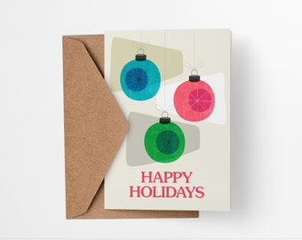 Happy Holidays Baubles Christmas Card