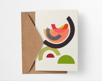 Whiskey Sour Cocktail greeting card - Mid-century modern tiki bar art, vintage style, abstract party invite