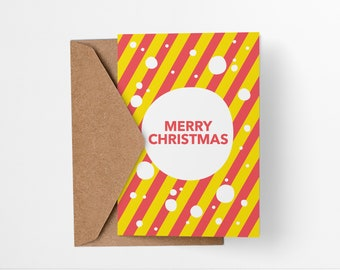 Merry Christmas Card Colorful Modern Abstract geometric greetings card