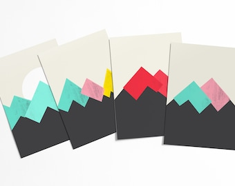 Pastel Mountains Postcard Set - Abstract screen print sierra mountains - affordable art - stationery collection