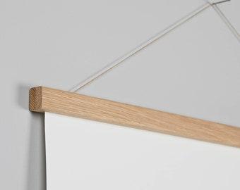 Magnetic wooden poster hangers