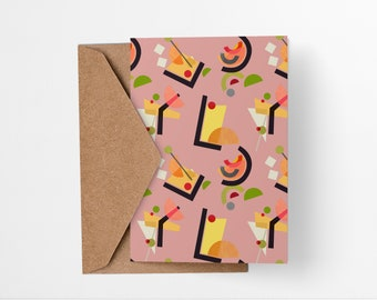 Cocktail Pattern greeting card in pink - Mid-century modern tiki bar art, vintage style, abstract party invite