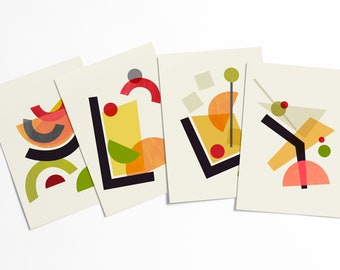 Tiki Cocktails Abstract Postcard Set - Colorful geometric Mid-century modern shapes artwork set - affordable pop art - stationery collection