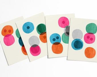 Cellular Abstract Postcard Set - Colorful geometric modern circle shapes artwork set - affordable pop art - stationery collection