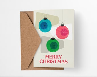 Retro Holiday Baubles - Mid Century Modern Christmas Card - Colorful modern abstract geometric illustrated decorations greetings card