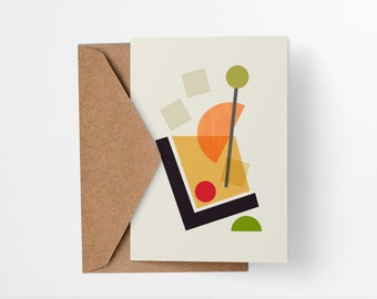 Old Fashioned Cocktail greeting card - Mid-century modern tiki bar art, vintage style, abstract party invite