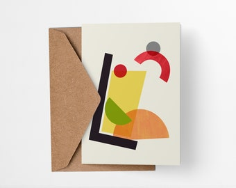 Tom Collins Cocktail greeting card - Mid-century modern tiki bar art, vintage style, abstract party invite