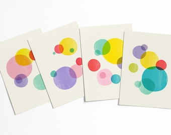 Rainbow Bubbles Abstract Postcard Set - Colorful geometric modern circle shapes artwork set - affordable pop art - stationery collection