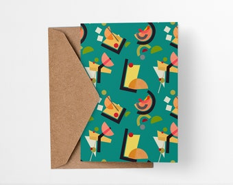 Cocktail Pattern greeting card in green - Mid-century modern tiki bar art, vintage style, abstract party invite