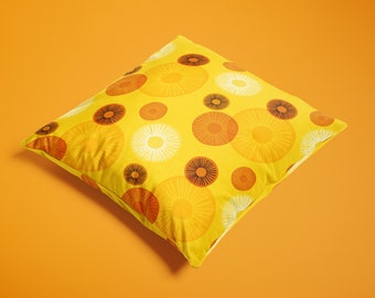 Sunny orange square velvet throw pillow - Mid-century modern style abstract pattern, vintage style occasional cushion