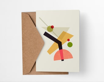 Martini Cocktail greeting card - Mid-century modern tiki bar art, vintage style, abstract party invite