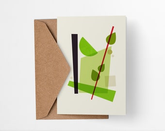 Mojito Cocktail greeting card - Mid-century modern tiki bar art, vintage style, abstract party invite