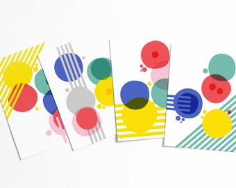 Cellular Evolved Abstract Postcard Set - Colorful geometric modern circle shapes artwork set - affordable pop art - stationery collection