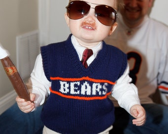 MADE to Order Bears Child Knitted Sweater Vest - Size  2T to size 10 Children, Special Orders Accepted