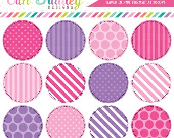 278dcf4efce22 Pink   Purple Digital Circle Frames Clipart Graphics Instant Download Clip  Art Polka Dotted and Striped Digital Backgrounds