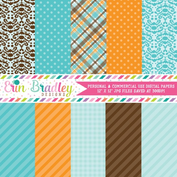 Digital Scrapbook Papers Personal And Commercial Use Blue Orange And Brown Set By Erin Bradley Designs Catch My Party