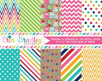 School Supplies Digital Paper Pack Collection Colorful Chevron Stripes and Polka Dots Teachers Digital Patterned Paper Set