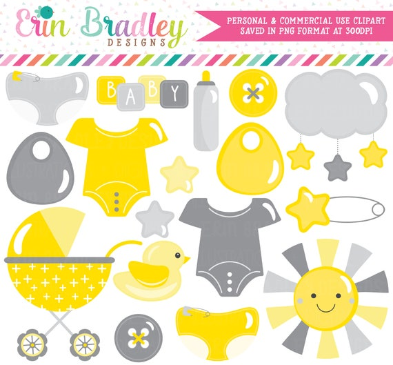 Gender Neutral Baby Clipart In Yellow And Gray Baby Shower Clip Art