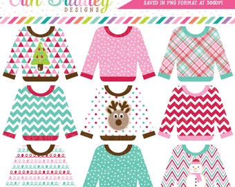 Sweater Weather Clipart, Ugly Sweater Party Clip Art Graphics, Commercial Use Holiday Clip Art, Clothing Clipart